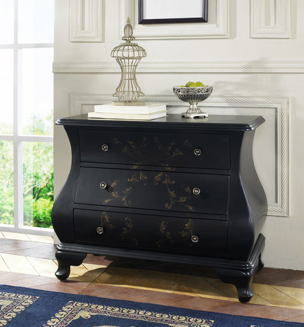 Hand Painted Satin Black Accent Chest Contemporary Dressers By