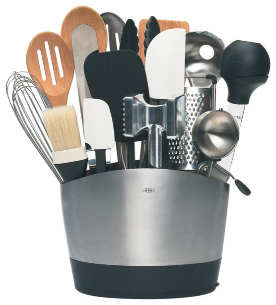 Oxo stainless steel utensil holder utensil holders and racks detroit by organize it - Unique kitchen utensil holder ...