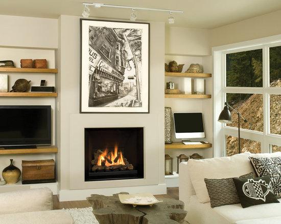 Ventana Series Fireplace - Ventana with Black Slab Liner (1260BSL) and 3-Sided Black Backing Plate (1240BPK)