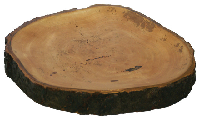 Mango Wood Platter With Bark Rustic Serving Dishes And