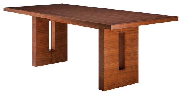 Nico rectangular dining table tan walnut small for Contemporary rectangular dining table