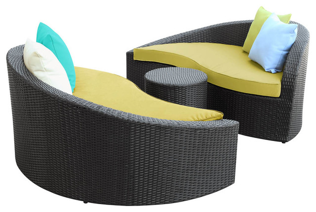Magatama 3 Piece Chaise in Espresso Peridot contemporary-outdoor-chaise-lounges