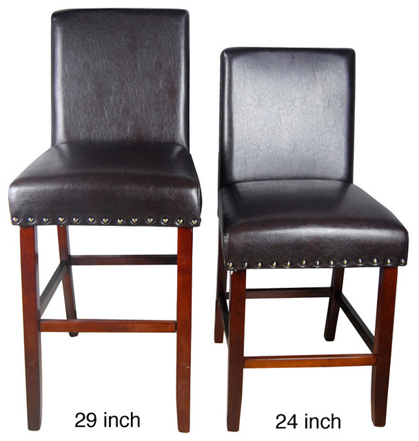Castillian luxury brown faux leather barstool and nail for Luxury leather bar stools