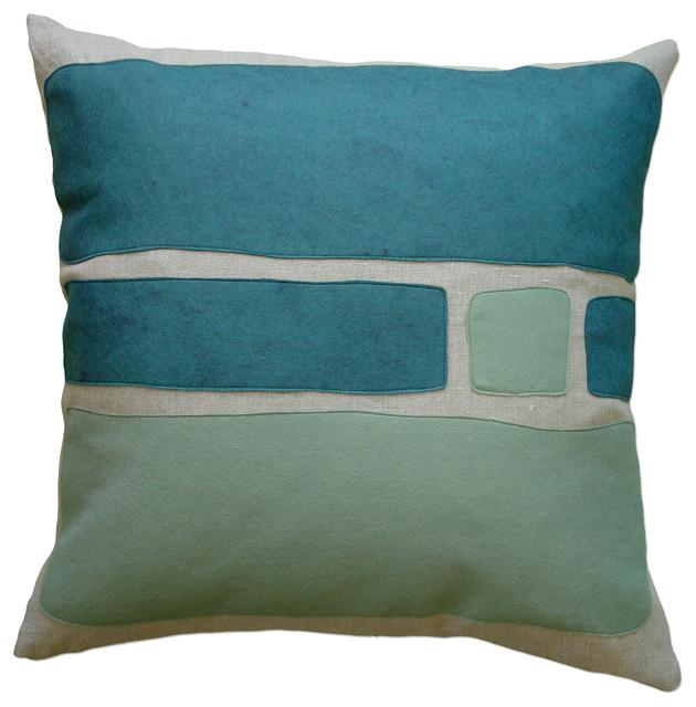 Modern Felt Pillows : Felt Applique Linen Pillow, Big Block, Brook/Loden - Contemporary - Decorative Pillows - by ...