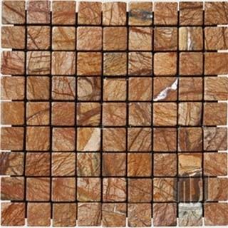 Cafe Rain Forest Tumbled Pattern Mesh-Mounted Marble Tiles modern-floor-tiles