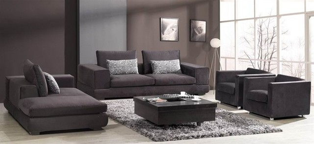 Barnile 4 pieced microfiber sofa set modern living - Microfiber living room furniture sets ...