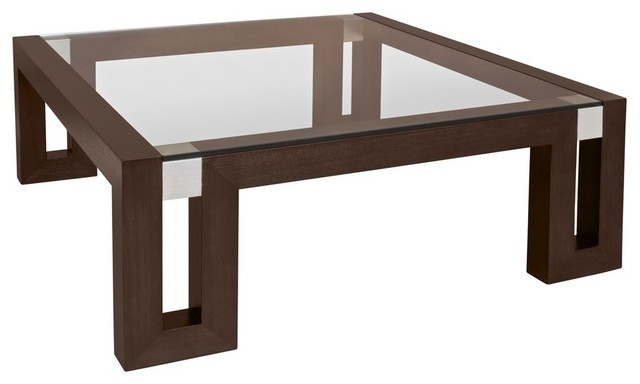 Allan Copley Designs Calligraphy 48 Inch Square Glass Top Cocktail Table In Espr Modern