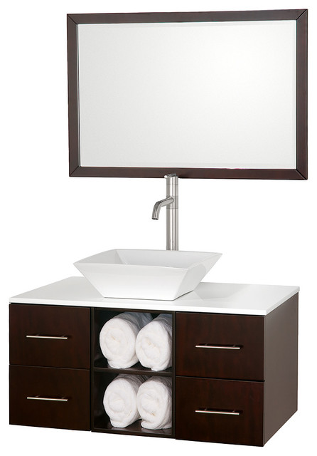 """Wyndham Collection 36"""" Abba Single Sink Vanity in Espresso w/ White Glass Top modern-bathroom-vanities-and-sink-consoles"""