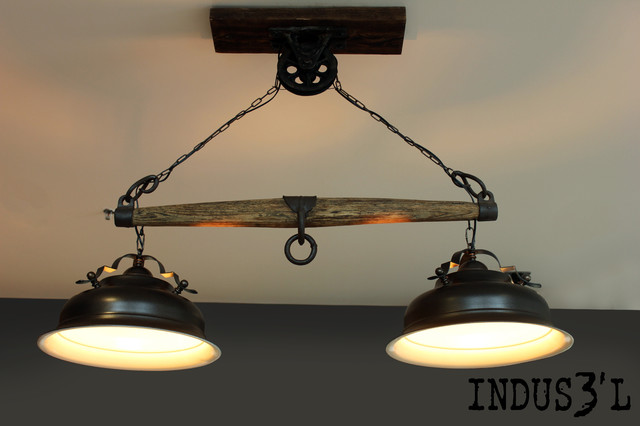Suspension indus3 39 l avec bachu et poulie industriel for Luminaire suspension industriel