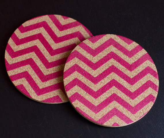 Chevron Screen Printed Coasters Magenta Pattern By FINEST IMAGINARY eclectic-coasters