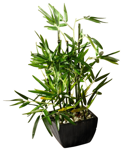 faux bamboo plant in pot with river stones modern