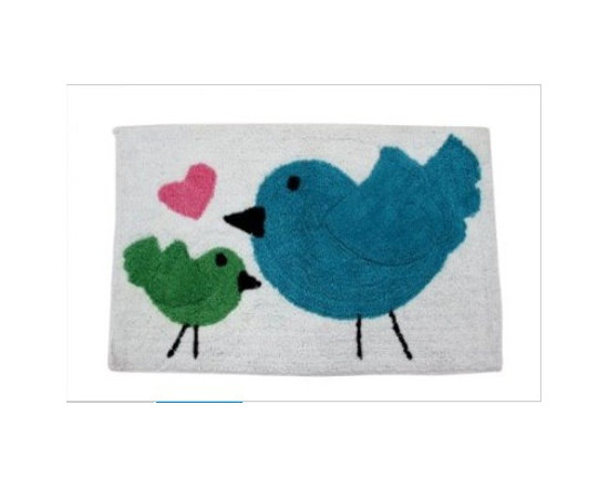 Birds Heart Pink Blue Green White - 50 x 80 cm Bath Mat or Children Rug - Colourful cheerful and well-designed 100% cotton hand tufted rugs from Homescapes have been created especially for children rooms but can also be used in other rooms including bathroom. These are good quality tufted rugs and not be confused with the usual synthetic printed rugs, yet they are very economically priced.