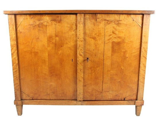 Pre-owned C.1870s Empire Style Birch Cabinet - C. 1870s Empire style cabinet in birch with double doors, one interior shelf, working lock & one key, dovetail joints and tapered feet.