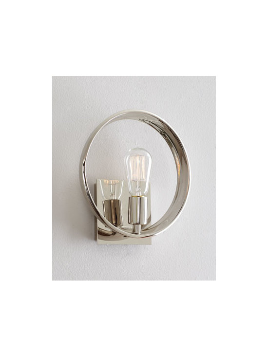 """Horchow - Edison-Style Wall Sconce - On-trend wall sconce centers on a vintage-look light bulb framed by a silvery halo of steel for the appeal of old New York elegance in the Victorian era. Uses one 60-watt bulb. 10""""W x 4""""D. Imported."""