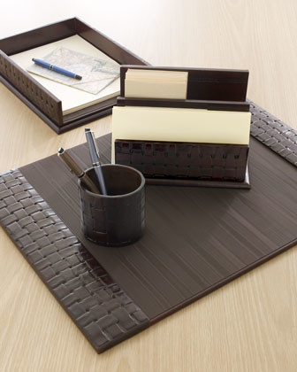 Woven Leather Document Tray traditional-kitchen-drawer-organizers