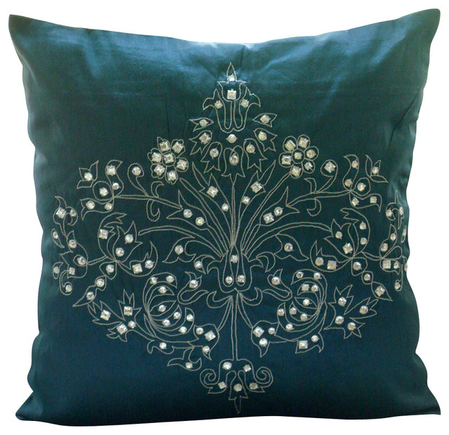 Teal Blue Throw Pillow : Damask Decorative Teal Blue Silk Throw Pillow Cover, 14x14 traditional-decorative-pillows