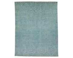 Blue Modern Oriental Rug without Borders 8.3x10.5 modern-rugs