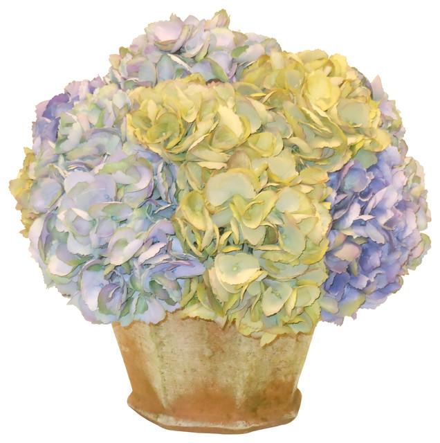 Hydrangea In Garden Pot Traditional Artificial Flowers
