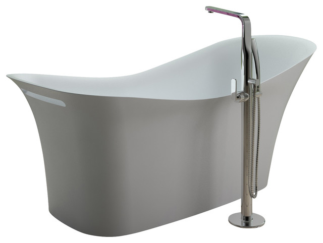Stand Alone Bathtubs : ADM Matte White Stand Alone Resin Bathtub, Matte - Modern - Bathtubs ...