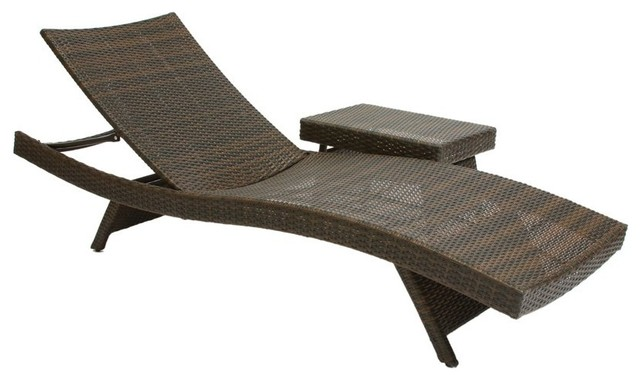Wicker multi brown outdoor adjustable lounge and table for Belmont 4 piece brown wicker patio chaise lounge set