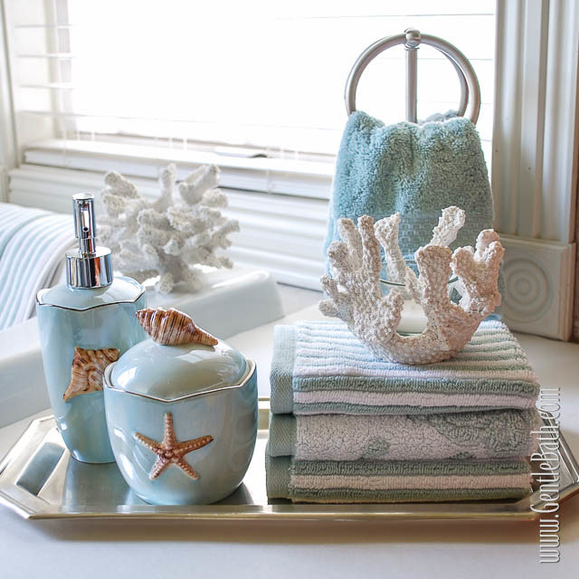 Beach decor ideas for bathroom : Seafoam serenity coastal themed bath decor idea beach