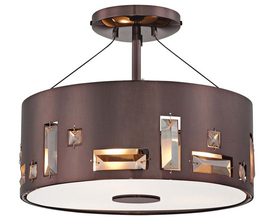 """George Kovacs - George Kovacs Bling Bang 12 1/4"""" Chocolate Ceiling Light - Create sparkle and shine with the Bling Bang Collection by George Kovacs lighting. This transitional style semi-flushmount chocolate chrome ceiling light is crafted from steel that is perforated and garnished with elegant teak crystal accents. A clear inside etched glass diffuser ensures warm even lighting. Steel construction. Chocolate chrome finish. Teak crystal accents. Clear inside etched glass diffuser. Takes three 100 watt medium base bulbs (not included). 12"""" wide. 9 3/4"""" high.  Steel construction.   Chocolate chrome finish.   Teak crystal accents.   Clear inside etched glass diffuser.   From the George Kovacs lighting collection.  Takes three 100 watt medium base bulbs (not included).   12"""" wide.   9 3/4"""" high."""