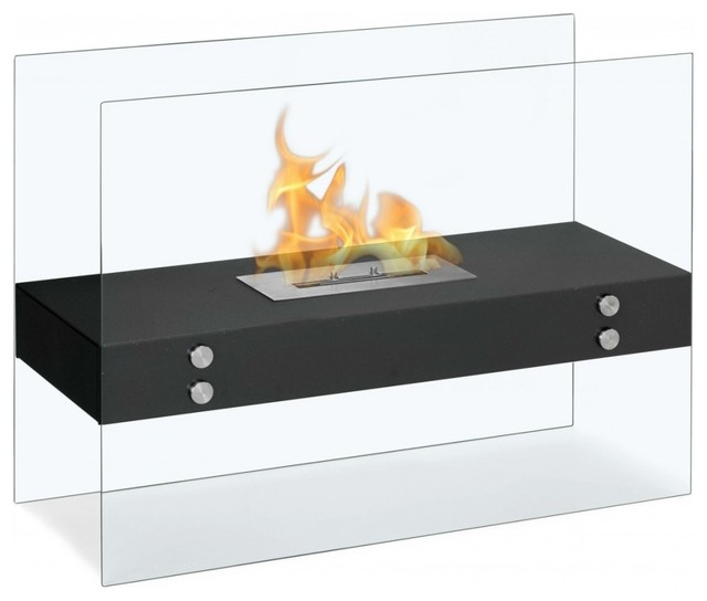 Freestanding ventless fireplace vitrum h for Contemporary ventless fireplace