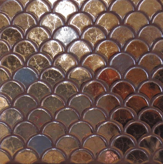 Bronze mini moroccan fish scales mediterranean tile other metro