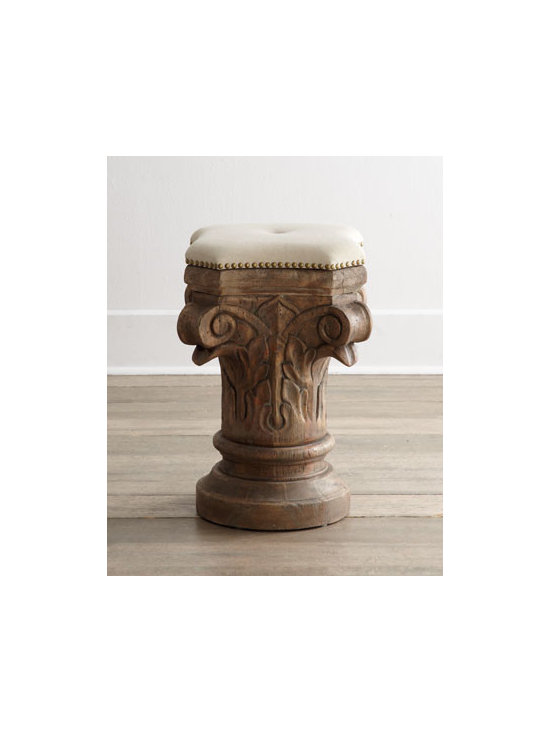 "Horchow - Cardius Stool - Carved to resemble an ancient Corinthian column capital, this stool is sure to invite conversation as it provides extra seating. Made of wood with a limed gracewood finish. Cotton upholstery. 16""W x 13""D x 24""T. Imported. Boxed weight, approximatel..."