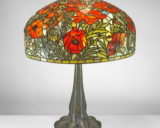 The Secret Garden (TSG 1895 USA) - 22-inch Parade of Poppies Gemstone Tiffany-Style Table Lamp - Gemstone Tiffany-Style Lampshade