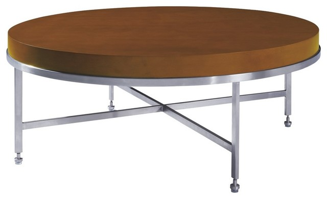 Allan Copley Designs Galleria 43 Inch Round Cocktail Table w/ Latte on Birch Top modern-coffee-tables