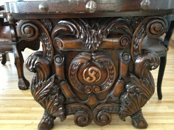 Spanish Revival dining table with carved wood and wrought iron, for sale craftsman-dining-tables
