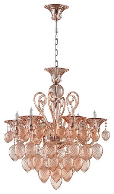 Bella Vetro 6-Light Pale Blush Murano-Style Glass Chandelier contemporary-chandeliers