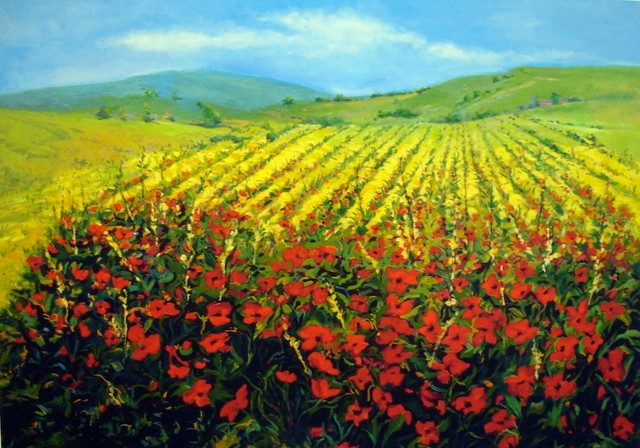 'Field of Poppies' Giclée Print traditional-paintings
