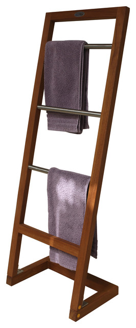Angled Teak Amp Stainless Towel Stand From The Spa