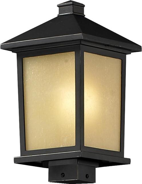 e Light Oil Rubbed Bronze Tinted Seedy Glass Post Light