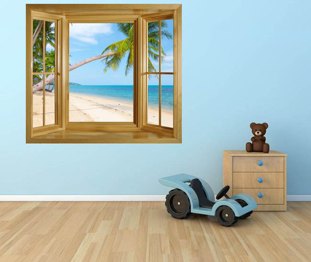 TROPICAL BEACH WITH COCONUT PALM WINDOW FRAME WALL STICKER tropical-wall-decals