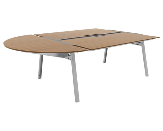 Turnstone - Bivi Conference for Six - The Bivi Conference for Six is a half-oval shaped modular conference table that seats six - and then converts to a double desk when you don't need the conference table. Includes space for optional power supply. MDF with steel base construction.