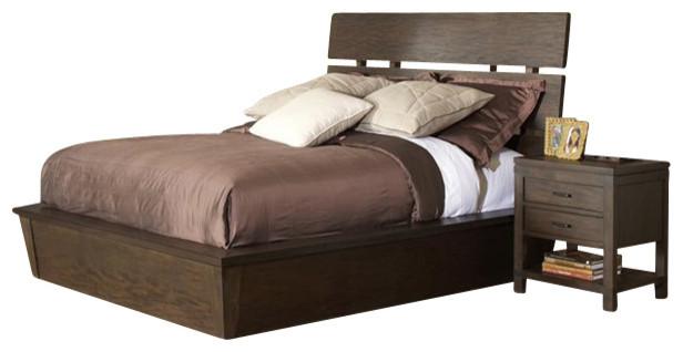 Riverside Furniture Promenade Slat Panel Bed 5 Piece Bedroom Set in Warm Cocoa transitional-beds