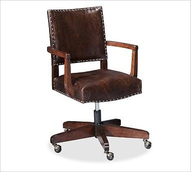 Manchester Swivel Desk Chair Espresso Stain Frame With