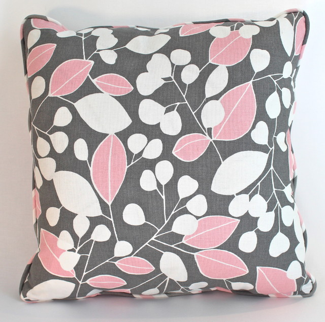 Contemporary Pink and Grey Leaves Pillow with Piping - Contemporary - Nursery Decor - new york ...