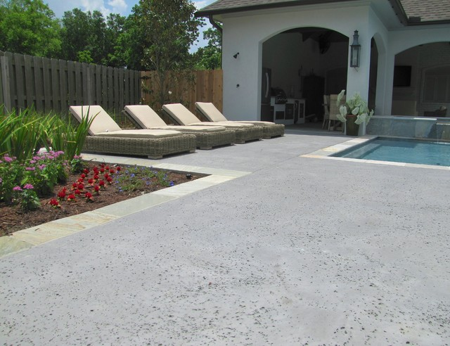 Stamped concrete pool deck/outdoor living - salt rock texture - other ...