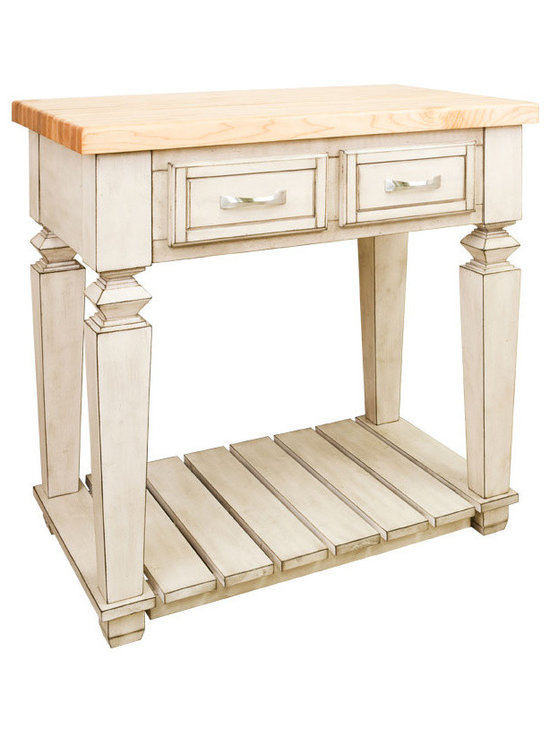 """Inviting Home - Boston Kitchen Island (antique white) - Boston table style kitchen island in French white finish; 33-15/16"""" x 22-1/6"""" x 34-1/4""""H; 1-3/4"""" hard maple Boston butcher block top sold separately; This table style kitchen island with open shelf is manufactured using the highest quality furniture grade hardwoods and MDF. The kitchen island features two deep working drawers on one side and a false front on the reverse. Drawers are dovetail solid hardwood and are mounted on under mount full extension soft close slides. Decorative hardware is included with this item. French white finish is applied by hand. Hard maple edge grain Boston butcher block top sold separately."""