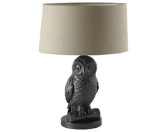 Owl Table Lamp, Gunmetal/Natural eclectic-table-lamps