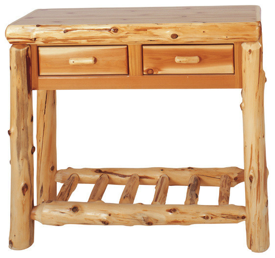 Log Sofa Table With 2 Drawers Rustic Console Tables