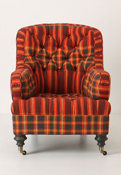 Lunet Chair, Plaid contemporary armchairs