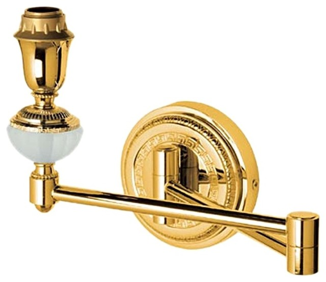 Versace classic gold wall lamp with greek key for Versace bathroom accessories