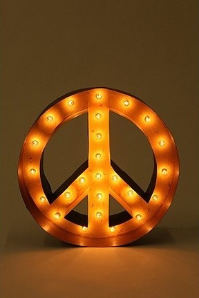 Peace Sign Marquee Light eclectic table lamps