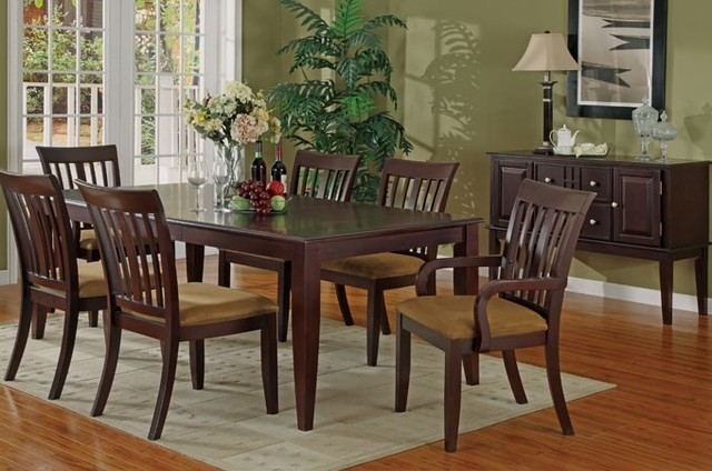 7 pieces contemporary style cherry wood dining table set for Cherry wood dining room set