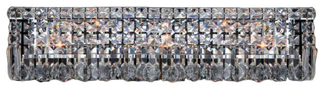 "Cascade 6 Light Chrome Finish Crystal Vanity Light Wall Sconce Light 24"" W contemporary-bathroom-lighting-and-vanity-lighting"